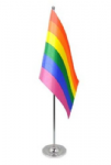 Gay Pride Rainbow Desk / Table Flag with chrome stand and base.